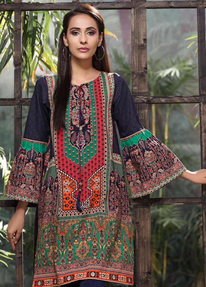 LimeLight Printed Cotton Unstitched Kurties LL18-W3 276 Navy Blue - Winter Collection