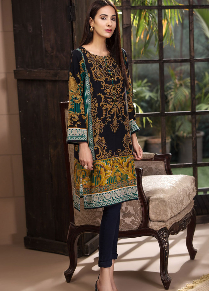 LimeLight Printed Khaddar Unstitched Kurties LL18-W3 450 Green - Winter Collection