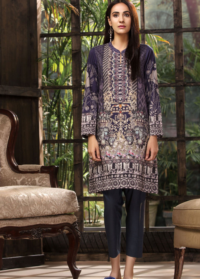 LimeLight Printed Khaddar Unstitched Kurties LL18-W3 510 Plum - Winter Collection