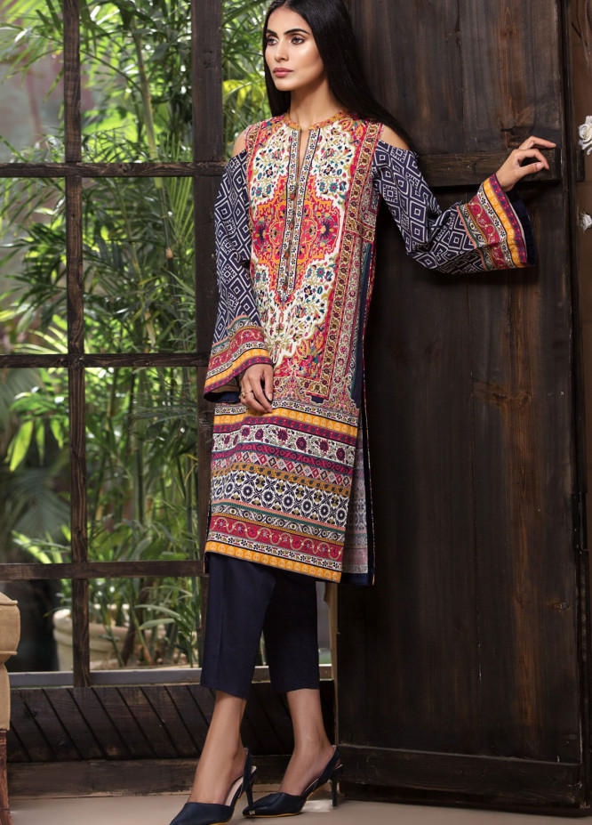 LimeLight Printed Cotton Unstitched Kurties LL18-W3 551 Blue - Winter Collection