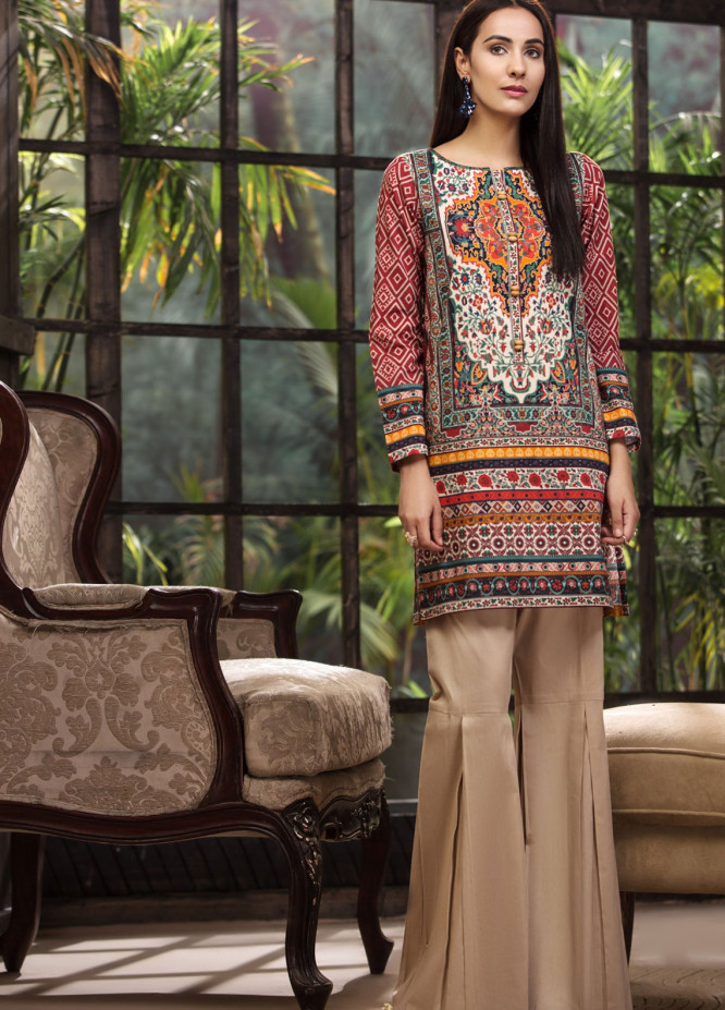 LimeLight Printed Cotton Unstitched Kurties LL18-W3 551 Orange - Winter Collection