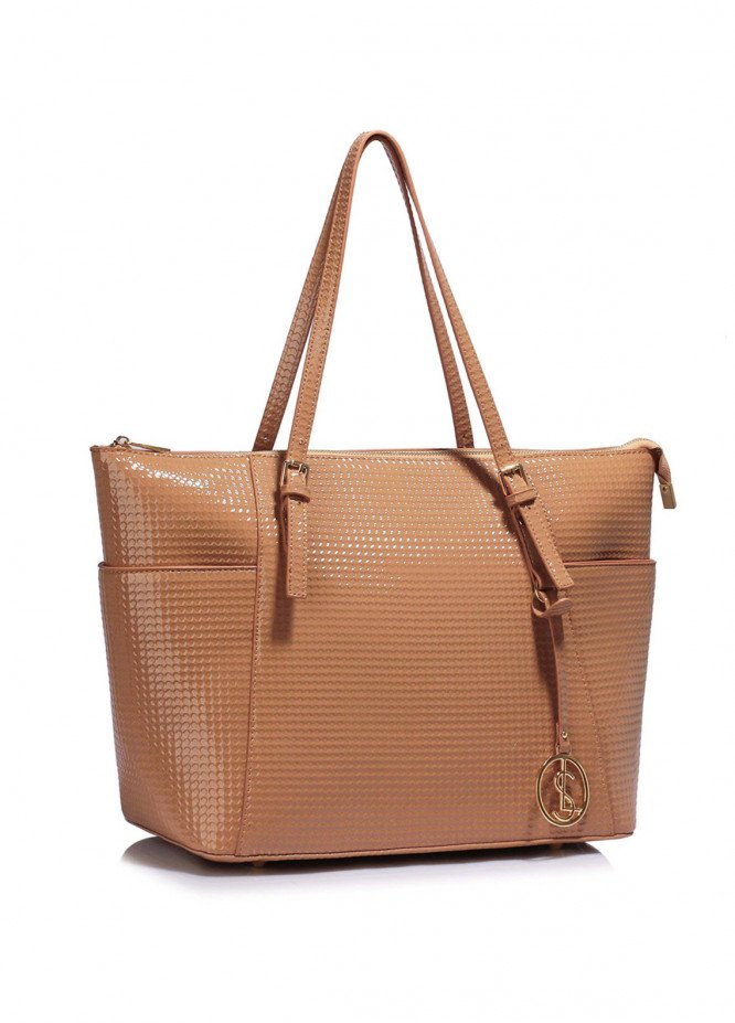 Leesun London Faux Leather Tote Bags for Women  Nude