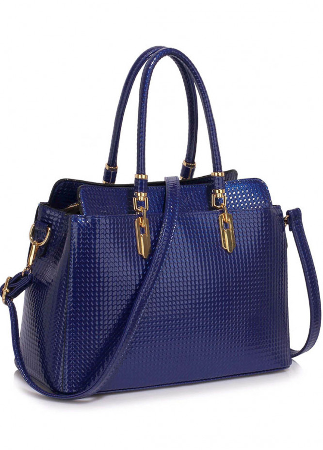 Leesun London Faux Leather Satchels Bags for Women Navy