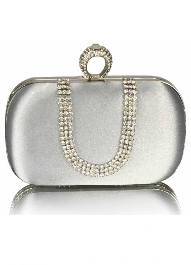 Fashion Only Satin Clutch Bags for Women Silver