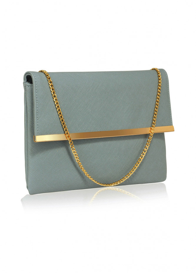 Leesun London   Clutch Bags  for Women  Teal with Plain Texture