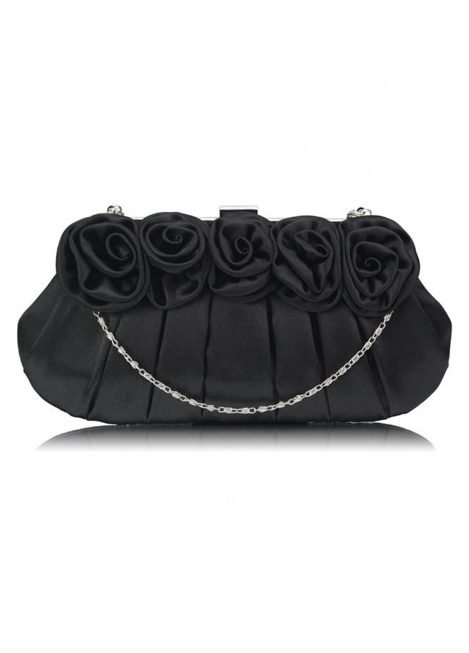 Leesun London   Clutch Bags  for Women  Black with Flower Design