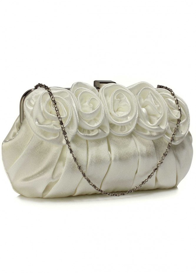 Leesun London   Clutch Bags  for Women  Ivory with Flower Design