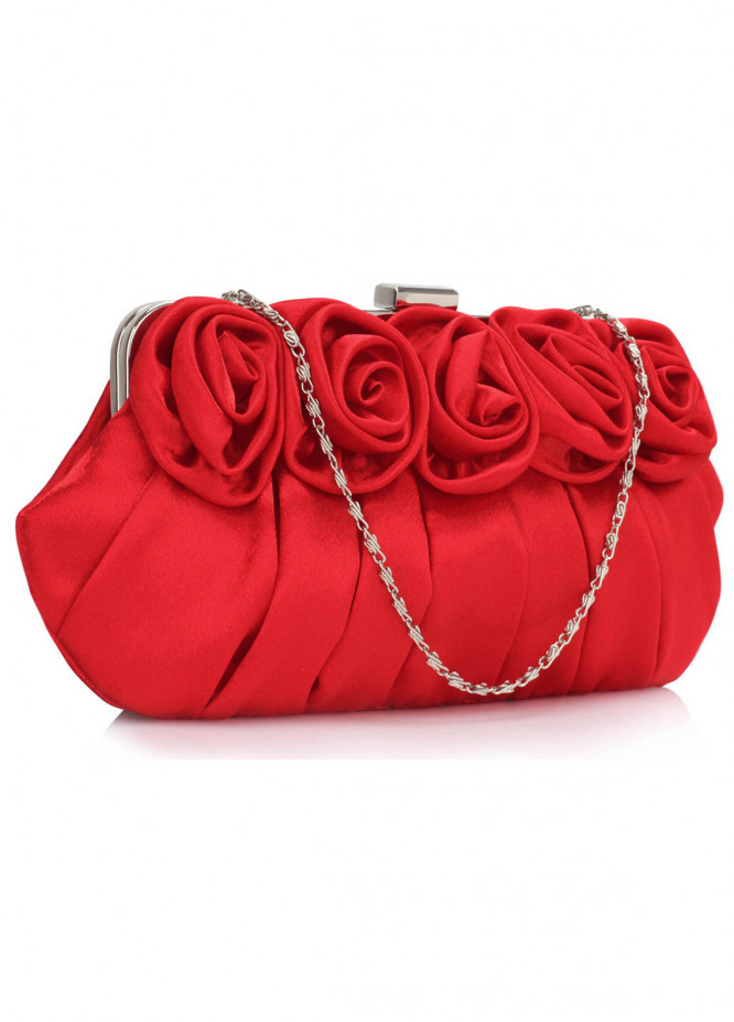 Leesun London   Clutch Bags  for Women  Red with Flower Design