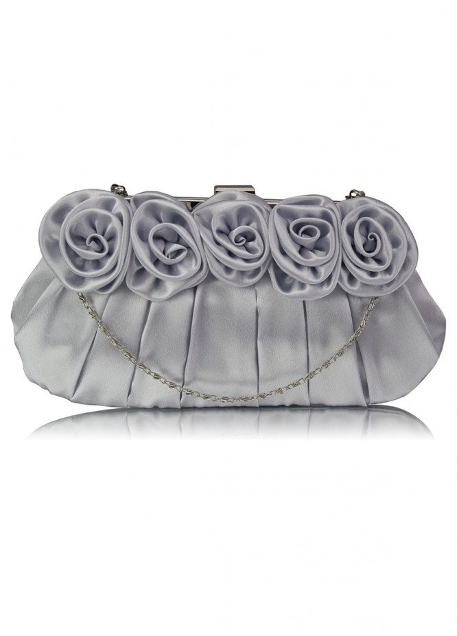 Leesun London   Clutch Bags  for Women  Silver with Flower Design
