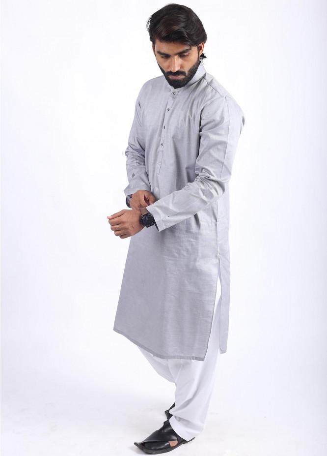 Sanaulla Exclusive Range Cotton Formal Men Kurtas - Grey SAM18K 06