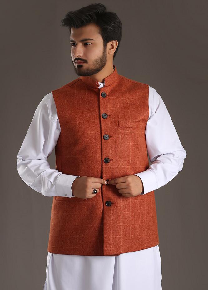 Sanaulla Exclusive Range Tropical Formal Men Waistcoat - Orange SA18W 005