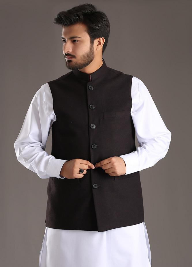 Sanaulla Exclusive Range Tropical Formal Waistcoat for Men - Black SA18W 010