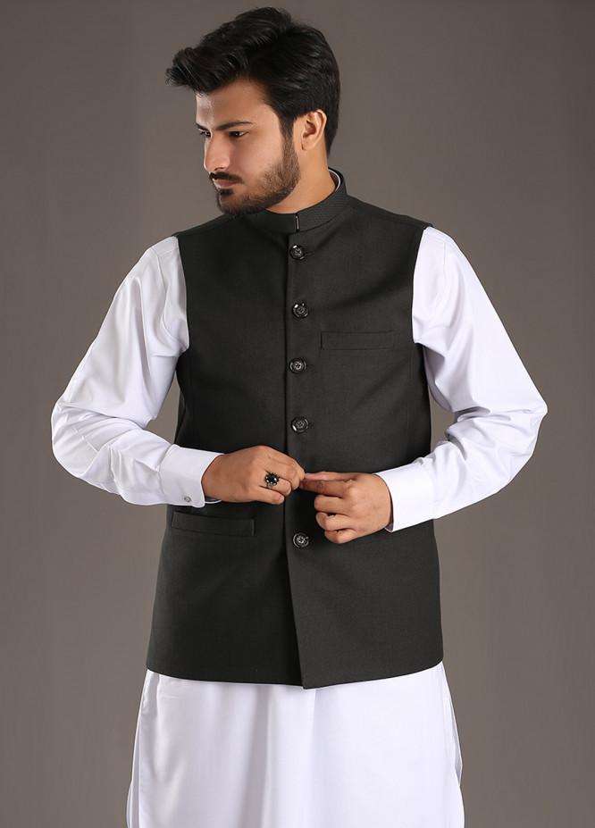 Sanaulla Exclusive Range Tropical Formal Men Waistcoat - Black SA18W 011