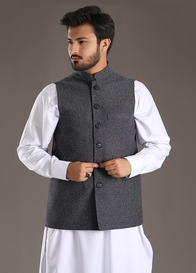 Sanaulla Exclusive Range Tropical Formal Men Waistcoat - Grey SA18W 013