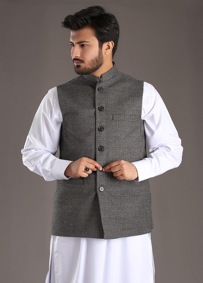 Sanaulla Exclusive Range Tropical Formal Waistcoat for Men - Grey SA18W 014