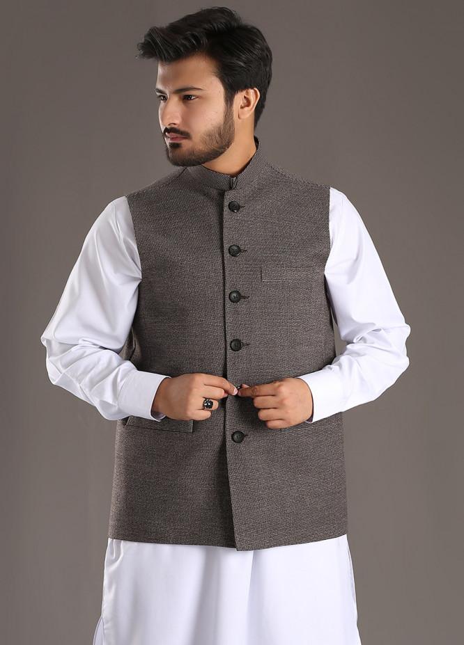 Sanaulla Exclusive Range Tropical Formal Men Waistcoat - Grey SA18W 015