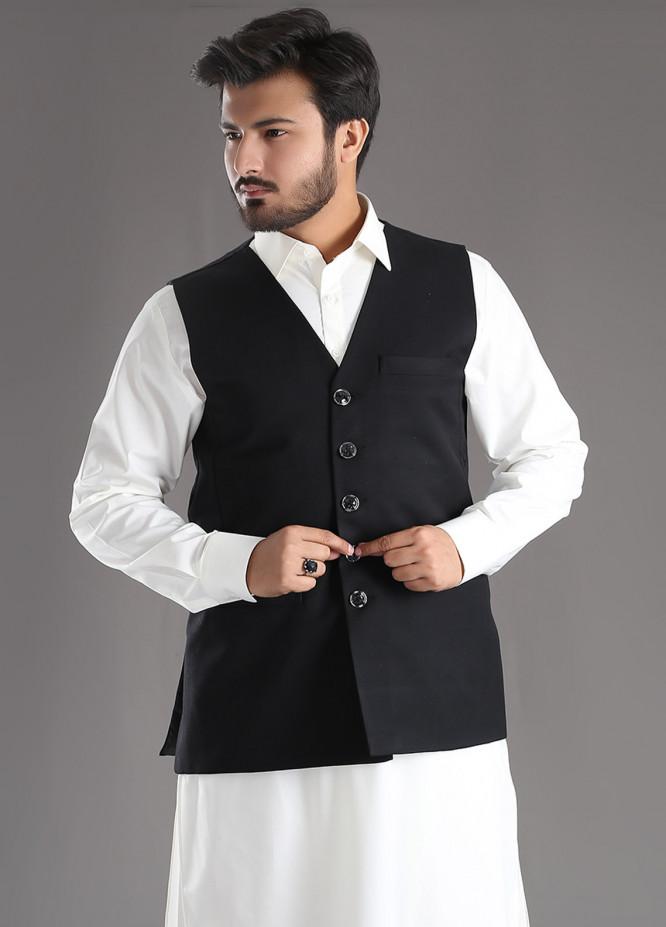 Sanaulla Exclusive Range Tropical Formal Men Waistcoat - Black SA18W 017