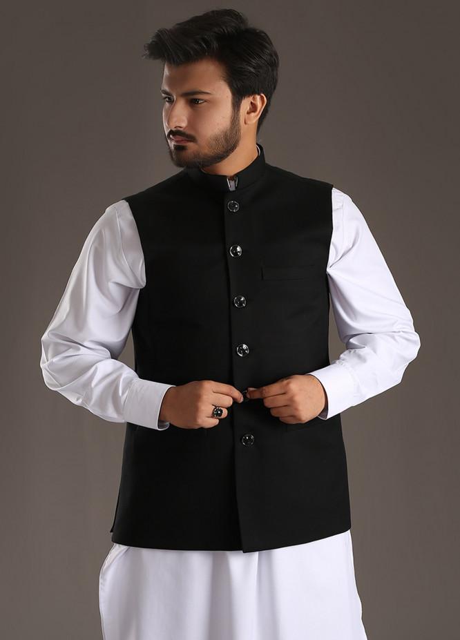 Sanaulla Exclusive Range Tropical Formal Waistcoat for Men - Black SA18W 018