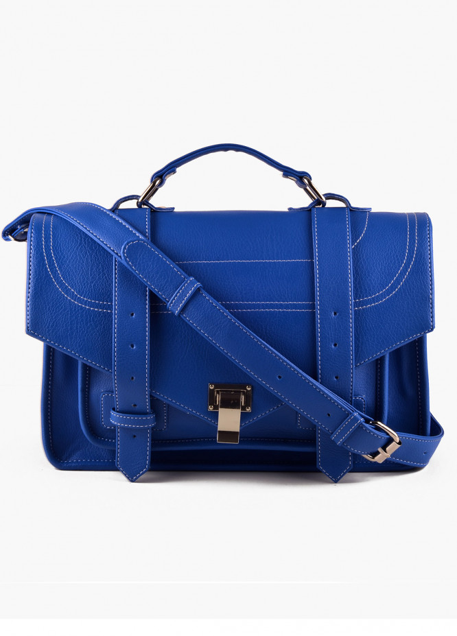 RTW Creation Faux Leather Shoulder Bags for Women - Royal Blue with Plain Texture