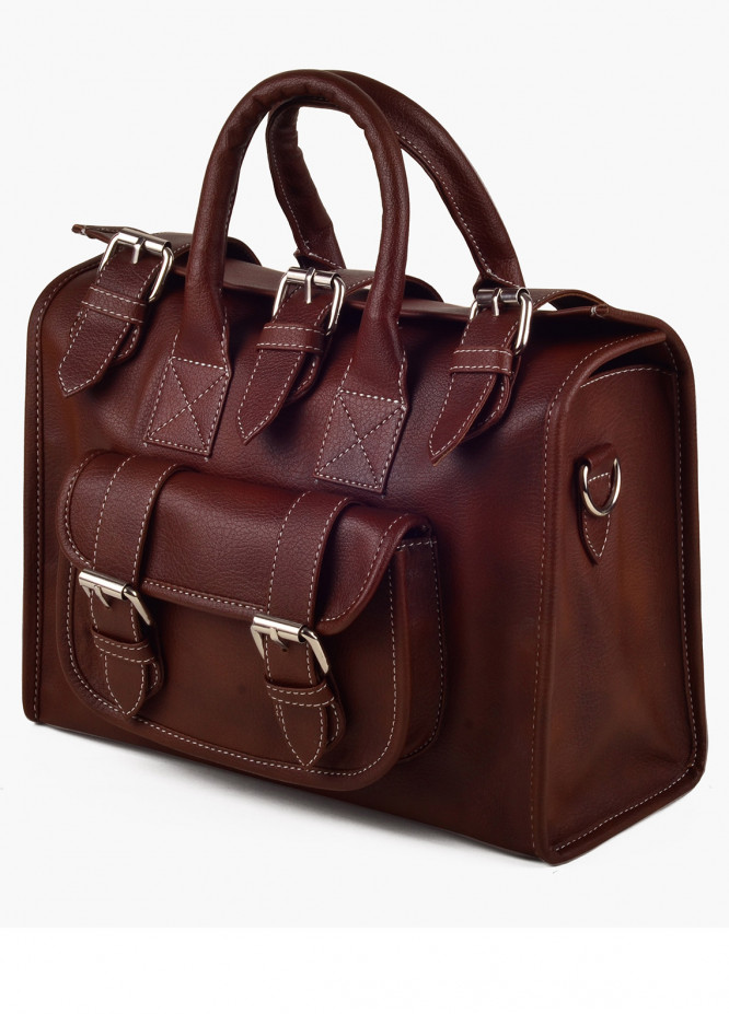 RTW Creation Faux Leather Shoulder Bags for Women - Chocolate with Plain Texture