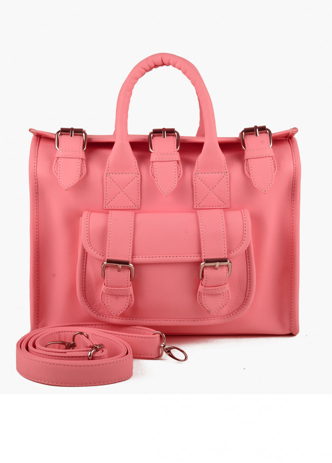 RTW Creation Faux Leather Shoulder Bags for Women - Rose Pink with Plain Texture