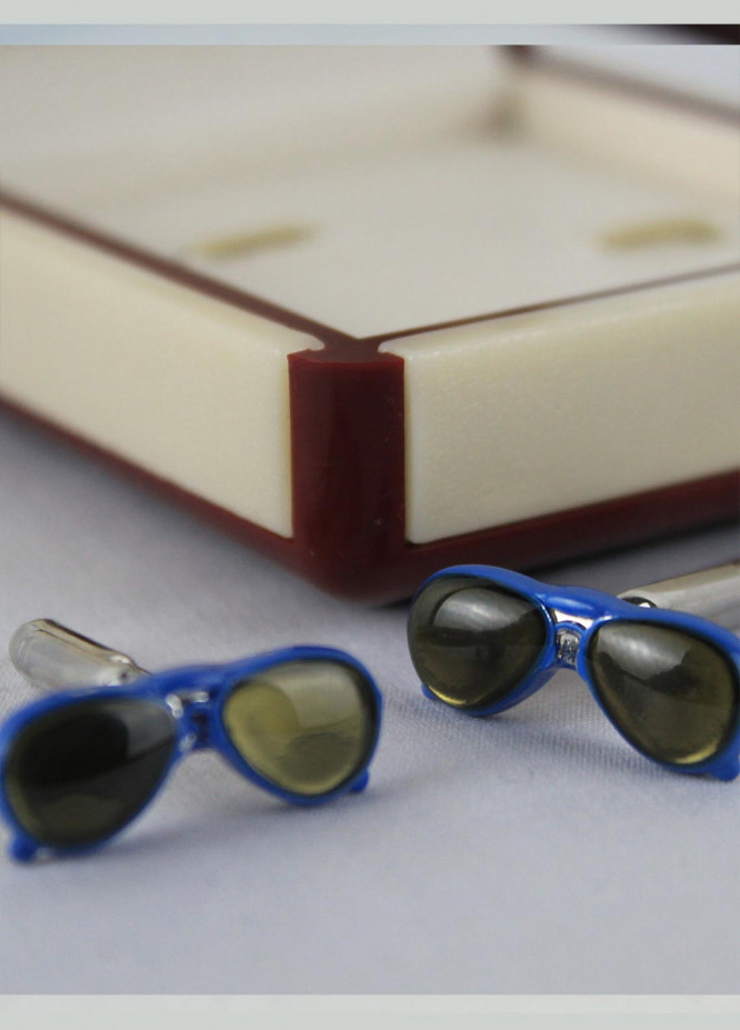 Shahzeb Saeed Fancy Steel  Cufflinks Blue Sun Glasses - Casual Accessories