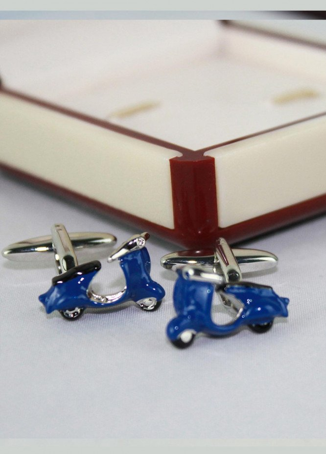 Shahzeb Saeed Fancy Steel  Cufflinks Blue Vespa - Casual Accessories