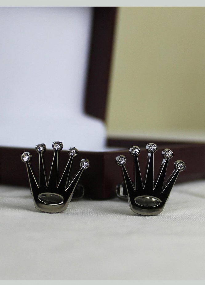 Shahzeb Saeed Fancy Steel  Cufflinks Grey Crown - Casual Accessories