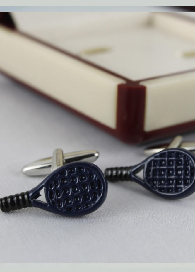 Shahzeb Saeed Fancy Steel  Cufflinks Navy Blue Racket - Casual Accessories
