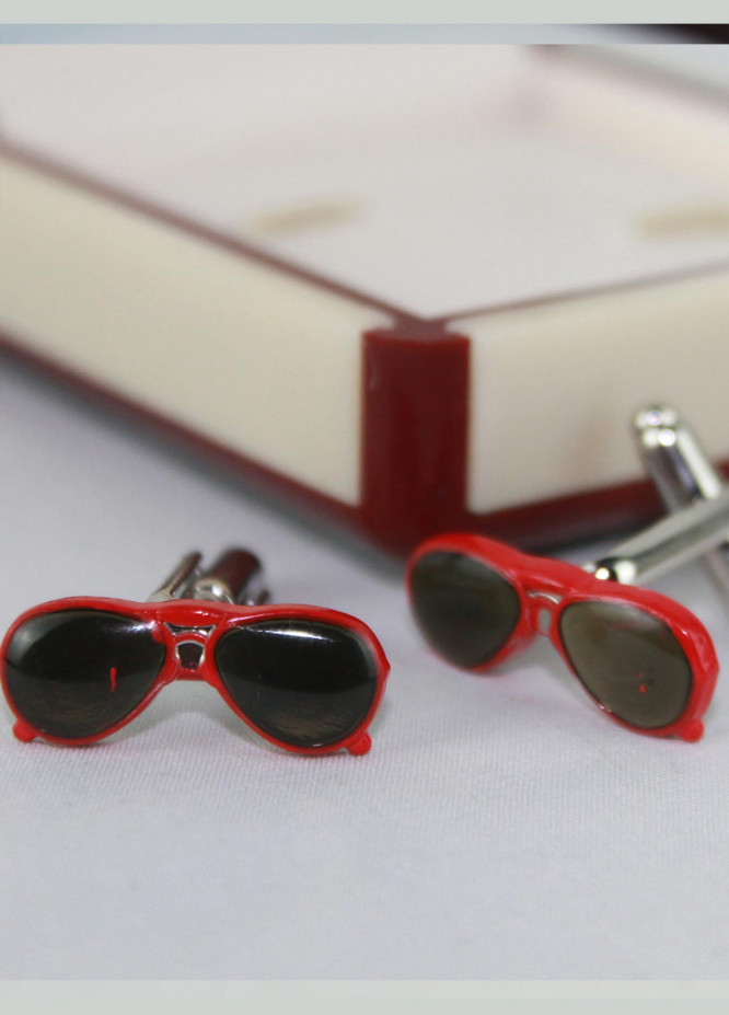 Shahzeb Saeed Fancy Steel  Cufflinks Red Sun Glasses - Casual Accessories
