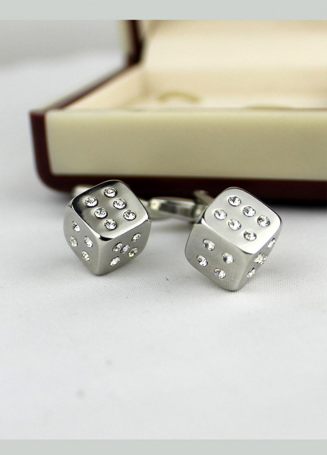 Shahzeb Saeed Fancy Steel  Cufflinks Silver Dice - Casual Accessories