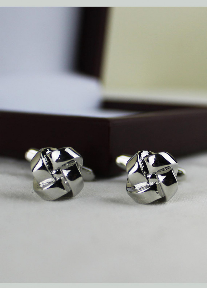 Shahzeb Saeed Fancy Steel  Cufflinks Silver Flower - Casual Accessories