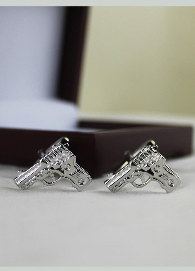 Shahzeb Saeed Fancy Steel  Cufflinks Silver Pistol - Casual Accessories