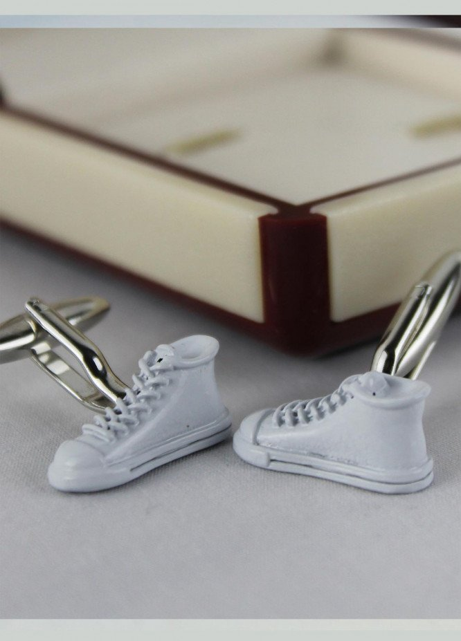 Shahzeb Saeed Fancy Steel  Cufflinks White Shoes - Casual Accessories