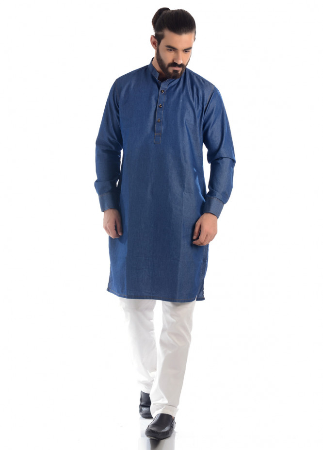 Shahzeb Saeed Denim Casual Kurtas for Men - Blue 01