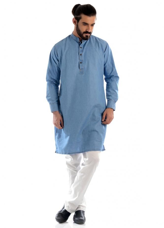 Shahzeb Saeed Denim Casual Men Kurtas - Sky Blue 02