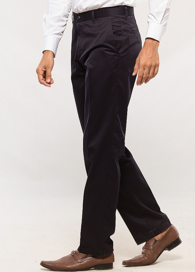 Shahzeb Saeed Cotton Wrinkle Free Men Trousers - Navy Blue CTR-68