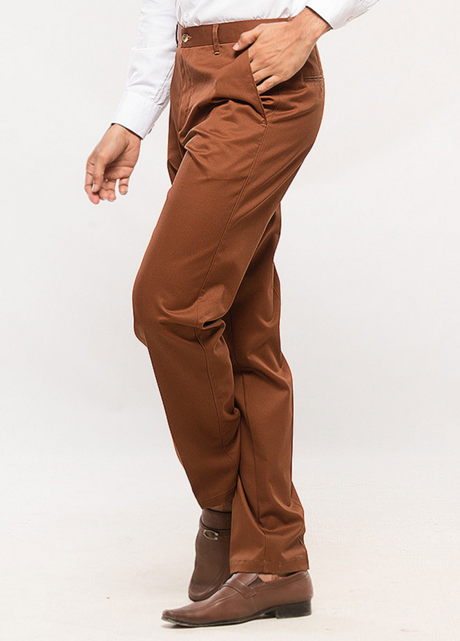 Shahzeb Saeed Cotton Wrinkle Free Trousers for Men - Brown CTR-69