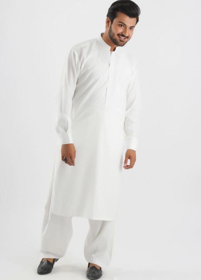 Shahzeb Saeed Cotton Formal Men Kameez Shalwar - White SK-163