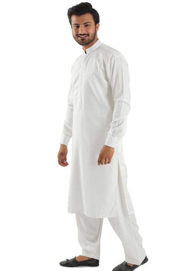 Shahzeb Saeed Cotton Formal Kameez Shalwar for Men - White SK-164
