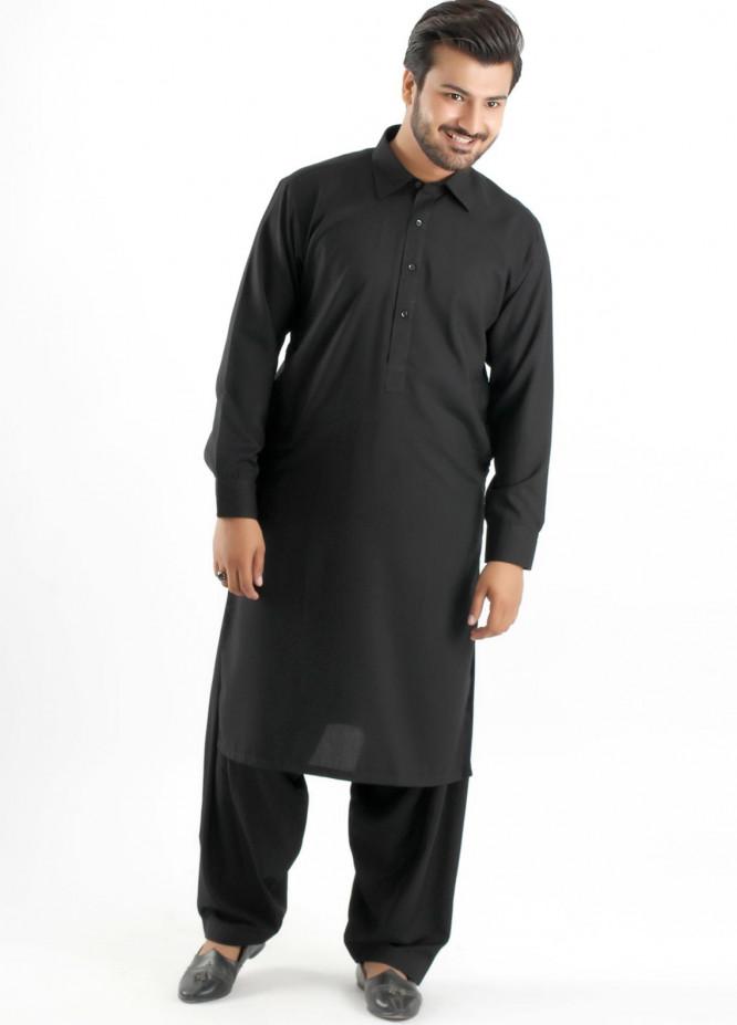 Shahzeb Saeed Cotton Formal Men Kameez Shalwar - Black SK-165
