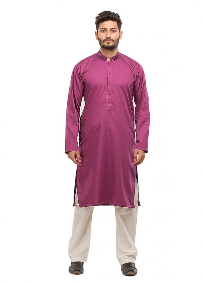 Shahzeb Saeed Wash N Wear Formal Men Kurta - Purple Kurta-65