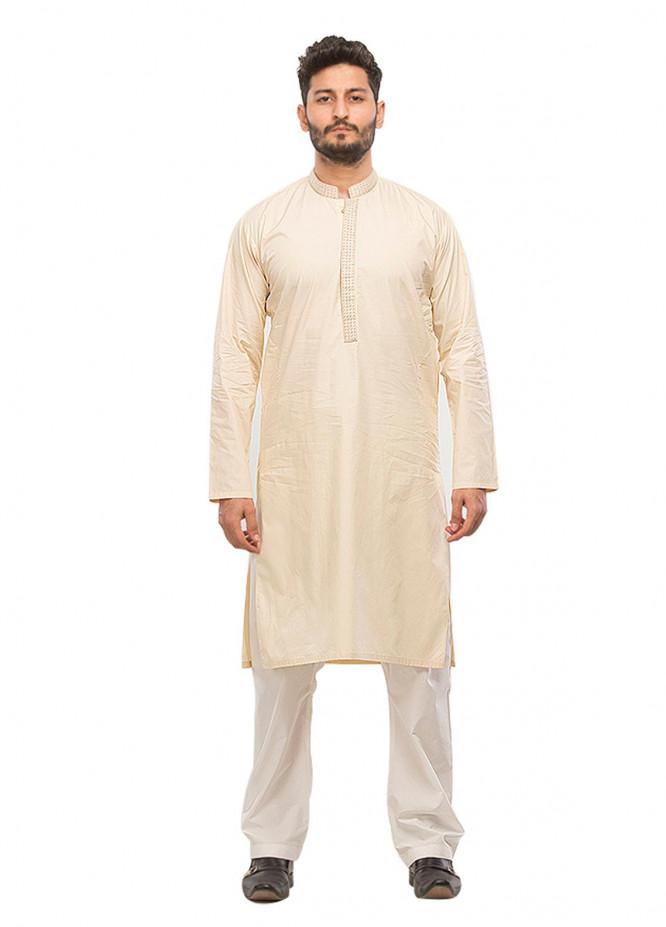 Shahzeb Saeed Wash N Wear Formal Kurta for Men - Cream Kurta-66