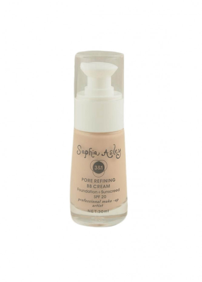 Sophia Asley 3 in 1 Pore Refining BB Cream Foundation , Sunscreen SPF20 - 1  Biege