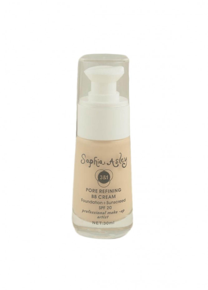 Sophia Asley 3 in 1 Pore Refining BB Cream Foundation , Sunscreen SPF20 - 2  Ivory