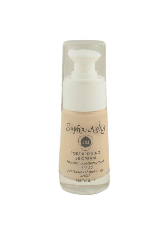 Sophia Asley 3 in 1 Pore Refining BB Cream Foundation , Sunscreen SPF20 - 3  Light Ivory