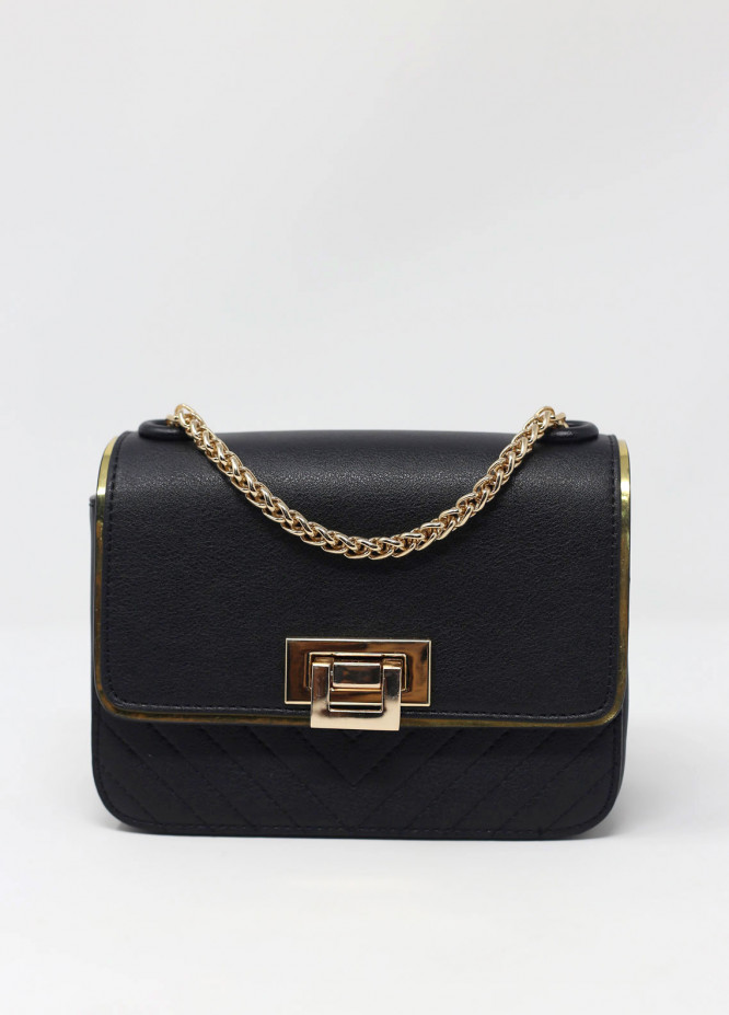 Susen PU Leather Shoulder  Bag for Women - Black with Plain Texture