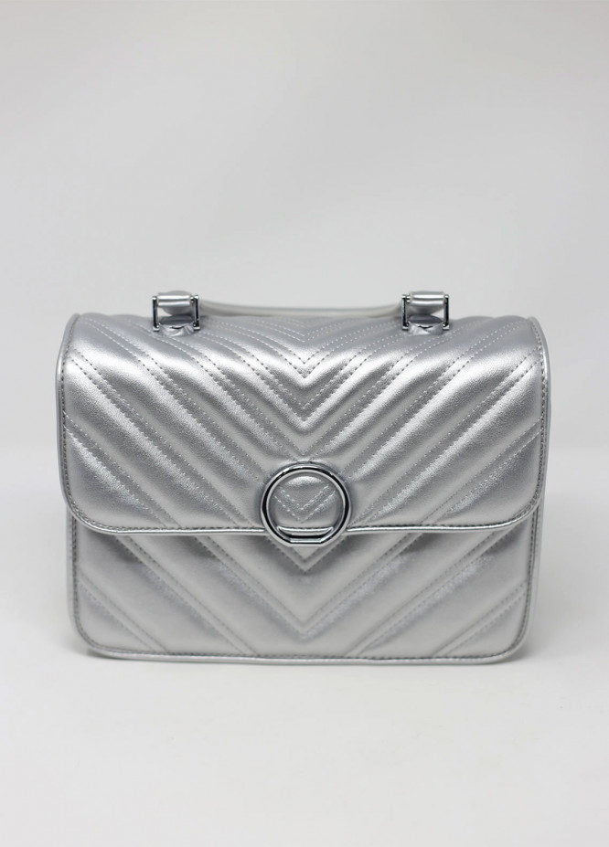 Susen PU Leather Satchels Bag for Women - Silver with Stripes
