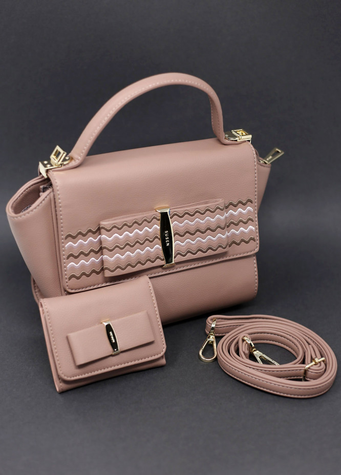 Susen PU Leather Satchels Bag for Women - Brown with Thread Lining