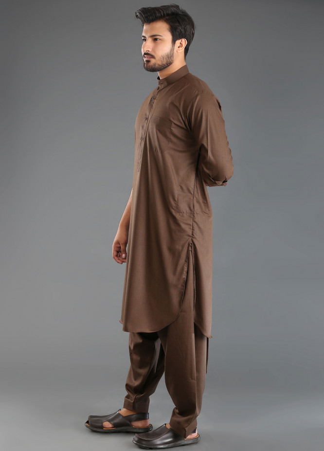 Sanaulla Exclusive Range Wash N Wear Formal Men Kameez Shalwar - Brown SKS18W 06
